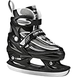 Lake Placid Summit Boys Adjustable Ice Skate, Black/White, Small Junior/10 -13