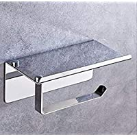 304 Stainless Steel Toilet Paper Roll Holder, Bathroom Tissue Wall Mount Storage Hook with Mobile Phone Storage Shelf…