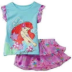 Disney Little Girls' Toddler Ariel Floral Ruffle Skooter Set, Aqua Fondant, 2T