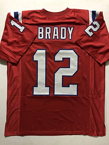 Unsigned Tom Brady New England Red Custom Stitched Football Jersey Size Xl New No Brands Logos
