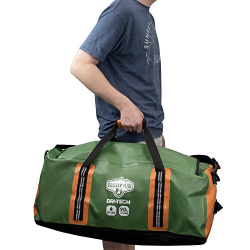 Grizzly Peak Dri-Tech Waterproof Dry Duffle Bag, IP 65 Lightweight Roll-Top Dry Bag with Backpacking Shoulder Straps & 4 Extra Pockets – Protects Personal Belongings by Grizzly Peak (Image #2)