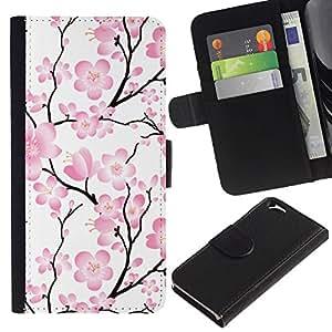 KingStore / Leather Etui en cuir / Apple Iphone 6 / Rama Wallpaper Flores rosas ?rbol floral