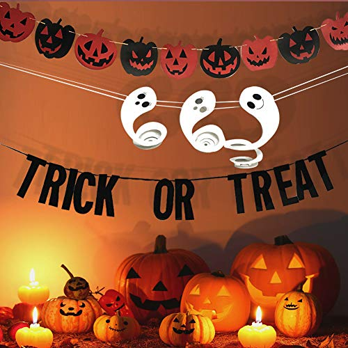 (Happy Halloween Trick or Treat Garland Banner Pumpkin Bunting Hanging Spiral Ghost Halloween Decoration Indoor/Outdoor Banner Wall Décor for Home, School, Office, Garden Party Decorations)