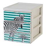 IRIS OHYAMA, Inc. Iris Ohyama 143222Designer Office Shelving Unit with 3Drawers, Plastic, Zebra Design, 19.1x 25.8x 22cm