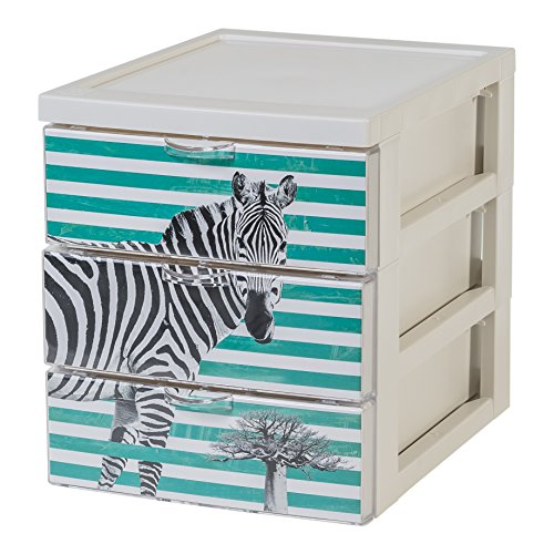 (Iris Ohyama 143222 Designer Office Shelving Unit with 3 Drawers, Plastic, Zebra Design, 19.1 x 25.8 x 22 cm)
