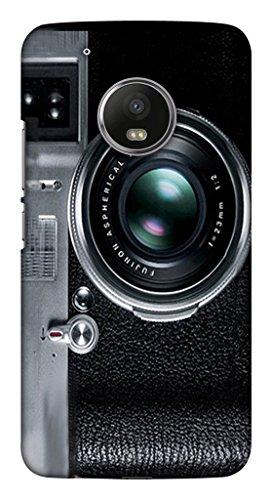 Blutec Camera Lens Design Printed Polycarbonate Back Cover for Motorola Moto G5 Plus  Black