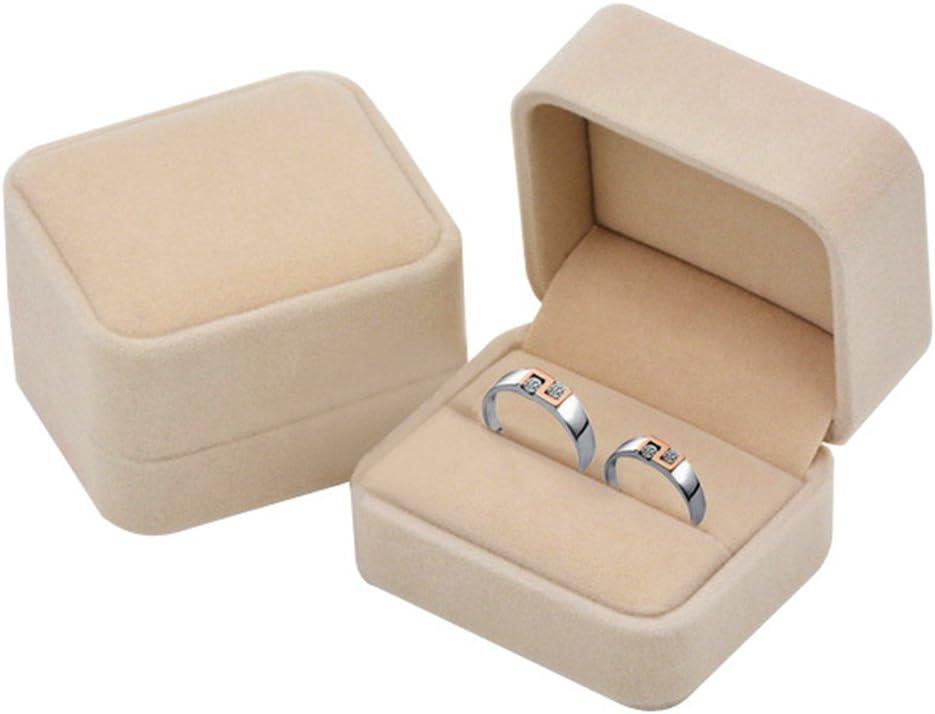 KINGWEDDING Flocked Earring Gift Boxes Jewelry Box,Rings Boxes (Beige)