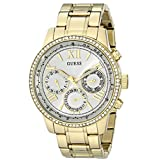 GUESS Women's U0559L2 Stainless Steel Gold-Tone Multi-Function Watch with Day, Date, 24 Hour Int'l Time and Genuine Crsytals