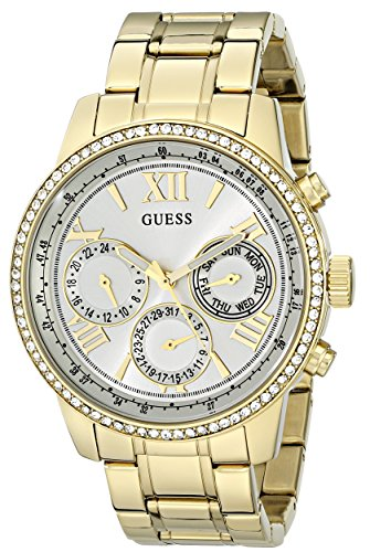 GUESS Women's U0559L2 Sporty Gold-Tone Stainless Steel Watch with Multi-function Dial and Pilot Buckle