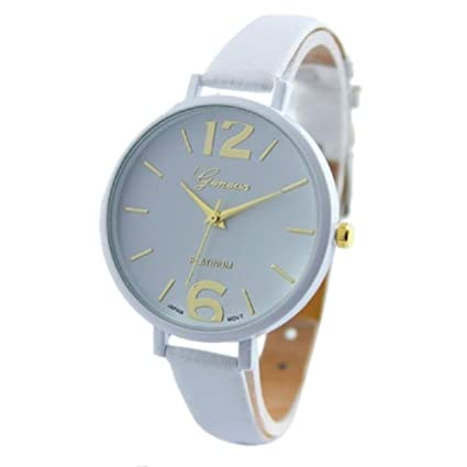 Xinantime Relojes Pulsera Mujer,Xinan Ginebra Imitación Cuero de Cuarzo Analógico Relojes (Blanco)
