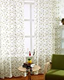 ASide BSide Countryside Style Leave Embroidered Sheer Curtains Drapes Rod Pockets Elegant Window Treatments For Living Room Bedroom and Kids Room (1 Panel, W 52 x L84 inch, Green) For Sale