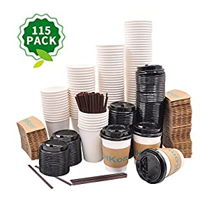 HKom Set of 115 - Paper Coffee Cups 12oz/350ml, Lids, Sleeves & Stirrers – Disposable Paper Cups - to go Coffee Cups,Tea, Hot Coco & Chocolate