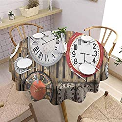DILITECK Clock Pad Round Tablecloth Antique Clocks on The Wall Instruments of Time Vintage Design Pattern Artwork Picnic Cloth Diameter 36 Brown and Red