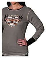 Harley-Davidson Women's Revival Racing Long Sleeve Thermal Shirt, Steel Gray