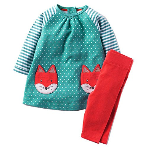 Boys Girls Outfits Cute Cartoon Fox Deer Pattern Kids Dress up Clothes Set 5 Years,Blue Fox