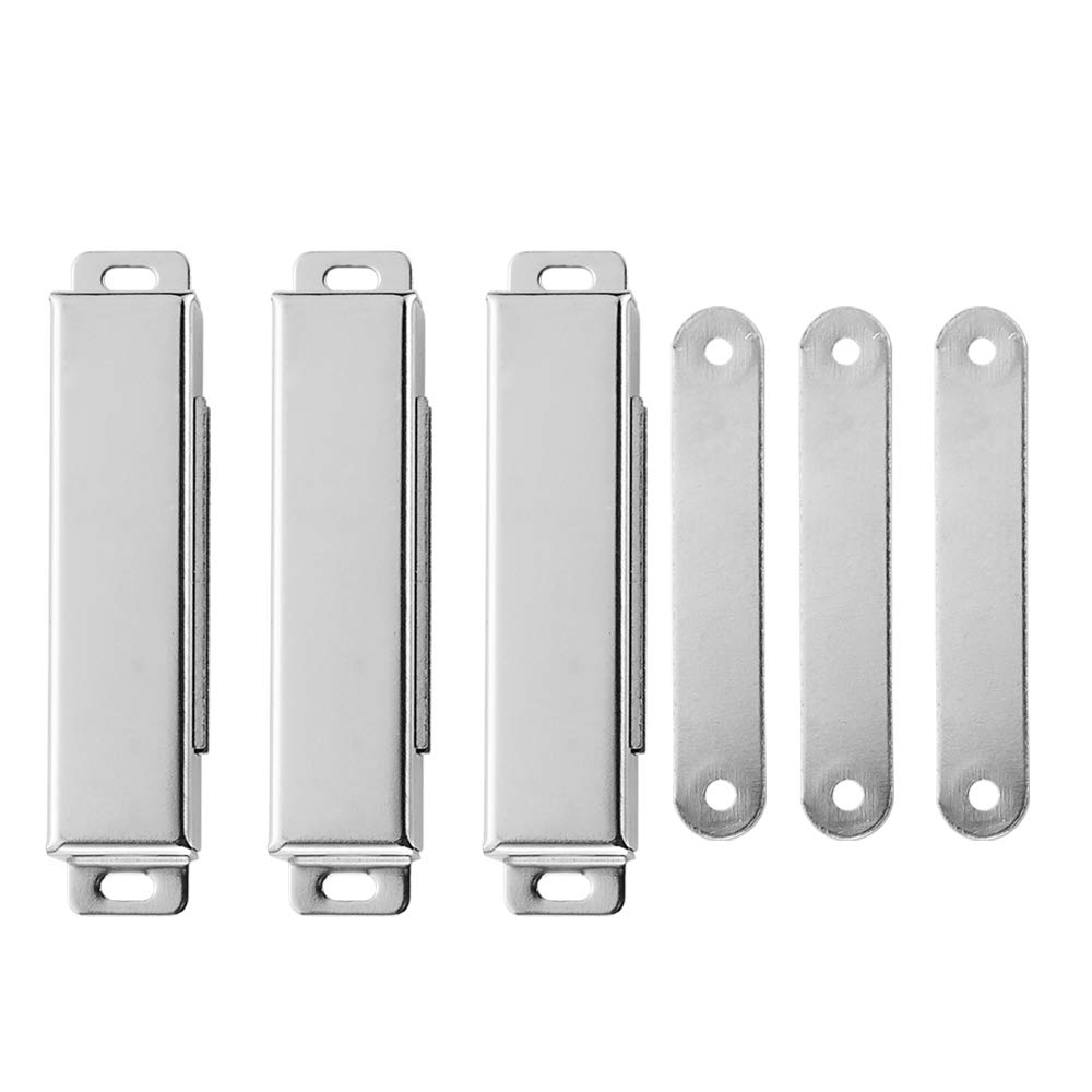 JQK Magnetic Door Catch, Stainless Steel Cabinet Magnet Closet Catches 3 Pack, 1.2mm Thickness Silver, CC120-P3