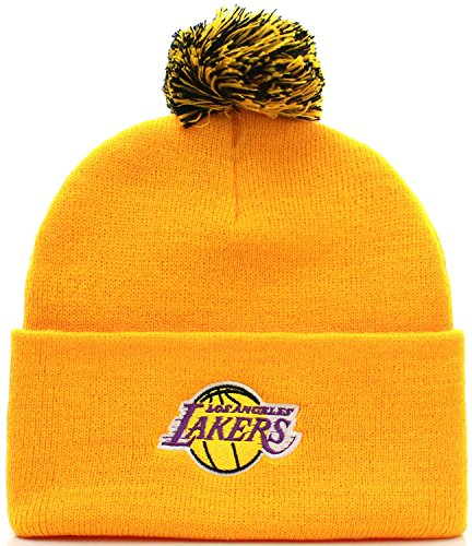 NBA Los Angeles Lakers Basketball Pom Pom Beanie Knit Hat Cap (Adult One Size, Yellow) by NBA