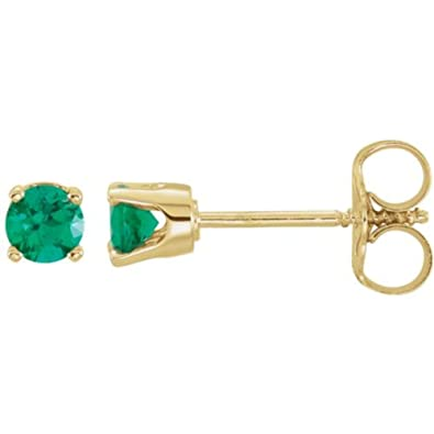 40b081c52c213 Amazon.com: 14k Yellow Gold Chatham Lab-Created Emerald Earrings ...