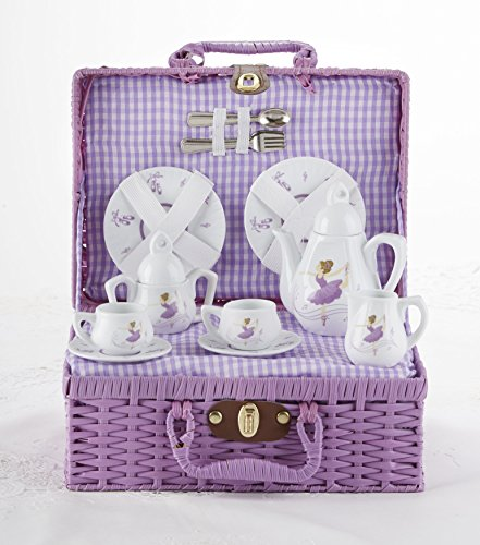 Delton Porcelain Tea Set in Basket, Purple Dancer