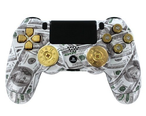 Money-Talks-wShotGun-Thumbsticks-and-Real-Gold-9-mm-Bullet-Buttons-PS4-Custom-Modded-Controller-Exclusive-Design-COD-Advanced-Warfare-Destiny-GHOSTS-Zombie-Auto-Aim-Drop-Shot-Fast-Reload-MORE