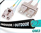 75M OM3 LC SC Fiber Patch Cable | Indoor/Outdoor 10Gb Duplex 50/125 LC to SC Multimode Jumper 75 Meter (246.06ft) | Length Options: 0.5M-300M | FiberCablesDirect - Made In USA | mmf lc-sc dx otdr 10g