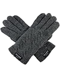 Ladie's Pure Wool Knit Gloves with Thinsulate Lining and Cable design
