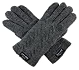Bruceriver Ladie's Pure Wool Knitted Gloves with Thinsulate Lining and Cable design Size M (Grey)