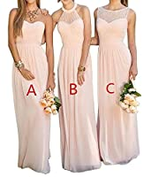 DKBridal Women's Chiffon Long Bridesmaid Dress A Line Evening Prom Gown