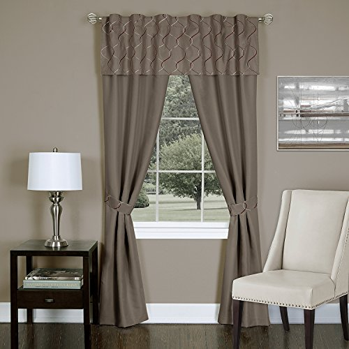 Achim Home Furnishings Trellis 5-Piece Window Curtain Panel Set, 55 by 84