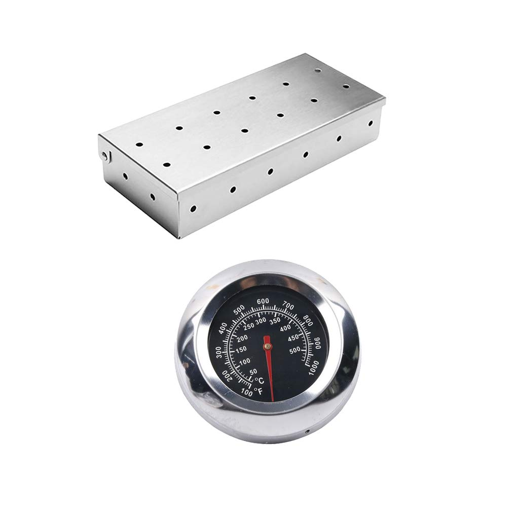 Homyl Meat Smoking Barbecue Smoker Box for BBQ Wood Chips, & 1Pcs Thermometer 50°C to 500°C