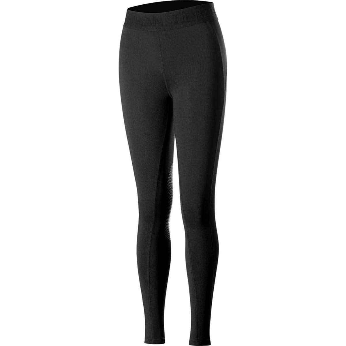 Horze Elsa Kids Silicone Knee Patch Tights - Black - X Small