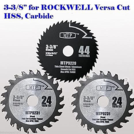 Mtp pack of 3 3 38 inch wood metal circular saw blade for rockwell mtp pack of 3 3 38 inch wood metal circular saw blade greentooth Images