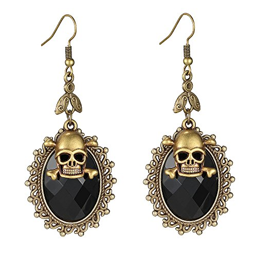 iWenSheng Halloween Skull Crystal Oval Drop Earrings for Women and Girls Gothic Punk Style