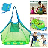 SupMLC Mesh Beach Bag Extra Large Beach Bags and Totes Tote Backpack Toys Towels Sand Away for Holding Beach Toys…