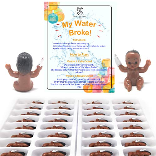 My Water Broke Baby Shower Game - Ice Cube Game with Tiny Plastic Babies for Ice Cubes - Ice Ice Baby, 32 People (African American, Colored -