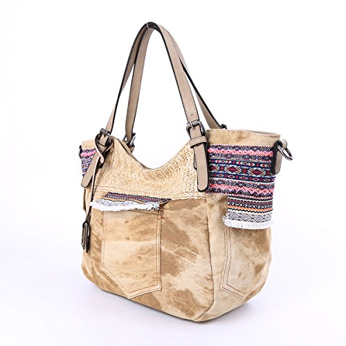 2 Bags beige Multi Handbags Leather Angelkiss Pockets Backpack Shoulder AK678 Washed Top Purses Zippers dWvwxxAOnq