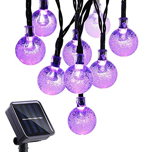 UCTEK Solar String Lights, 20ft 30 LED String Lights, Outdoor Globe Lights String 8 Modes Xmas Decorative Lighting for Outdoor Home Garden Patio Halloween Theme Party and Holiday Purple]()
