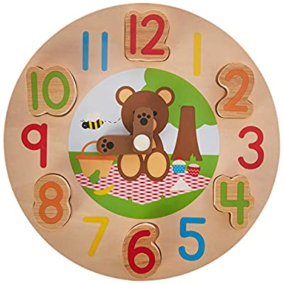 Bigjigs Toys Wooden Teddy Bear Clock - Tell The Time, Multicolored: Toys & Games