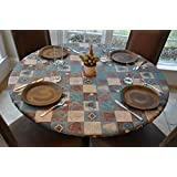 Elastic Edged Flannel Backed Vinyl Fitted Table Cover GLOBAL COFFEE PATTERN - Small Round - Fits tables 40