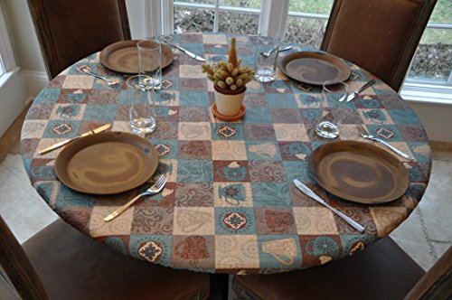 """Elastic Edged Flannel Backed Vinyl Fitted Table Cover - GLOBAL COFFEE Pattern - Small Round - Fits tables up to 44"""" Diameter"""