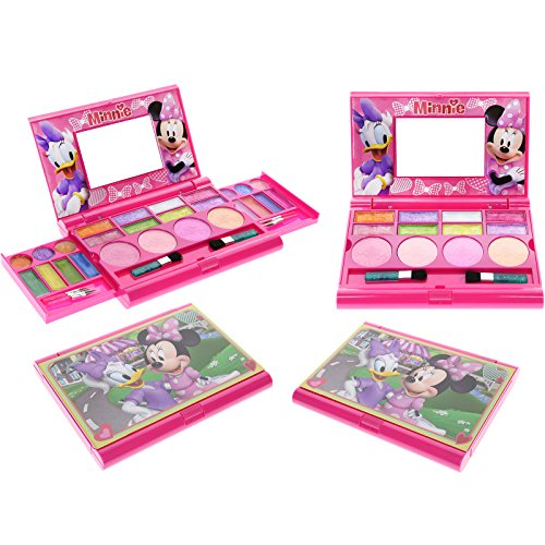 Townley Girl Disney Minnie Mouse Super Sparkly Cosmetic Set for Girls, 22 lip glosses, 4 blushes in mirrored case for $<!--$15.18-->