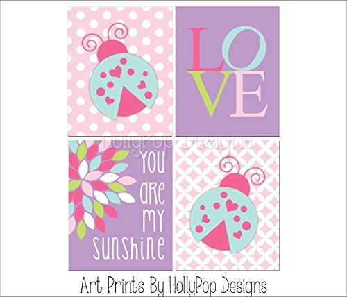(Lady bug nursery art, Pink purple nursery art, You are my sunshine, Love print, Baby girl nursery artwork, Nursery art prints, Baby decor - SET OF 4 UNFRAMED ART PRINTS #1400)