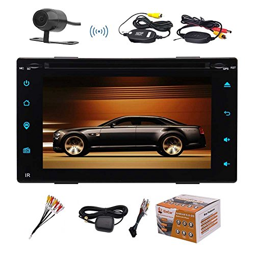 Eincar Android 6.0 Double-DIN In Dash 6.2 Inch Car Stereo Audio DVD/CD Player with Touchscreen GPS Navi HeadUnit AM/FM/Wifi/Bluetooth/Mirror link/Remote Control+FREE WIRELESS Backup Cam Free Audio Links