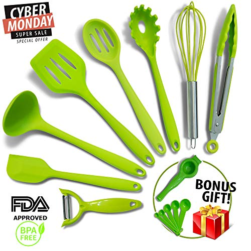 Silicone Cooking Utensils -11pc- MOST RELIABLE Cooking Utensils For You - FREE GIFT Includes Veggie Peeler & MORE! - Spatulas, Spoons & Tongs - Non-Stick Utensils, Heat Resistant & Dishwasher Safe