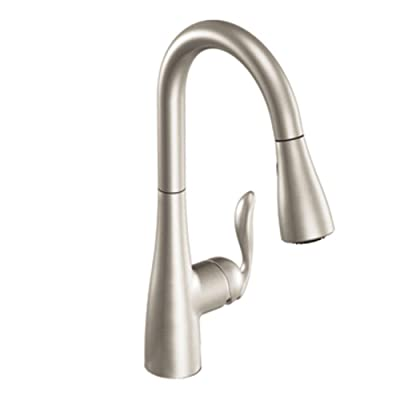 Moen 7594SRS Arbor One-Handle Pulldown Kitchen Faucet Featuring Power Boost and Reflex