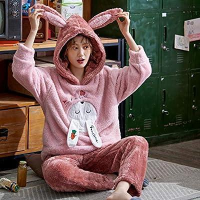 BLINGHG Pijamas de Mujer Conjunto de Pijama de Franela de Felpa ...