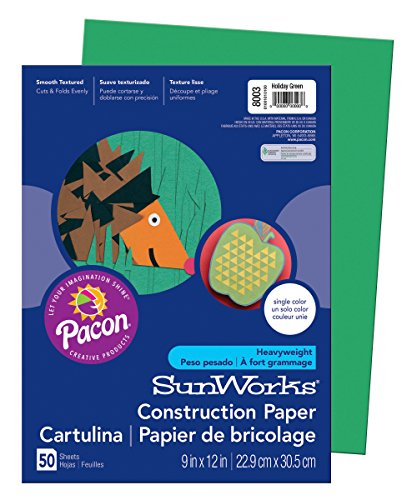 Pacon SunWorks Construction Paper, 9-Inches by 12-Inches, 50-Count, Holiday Green (8003)