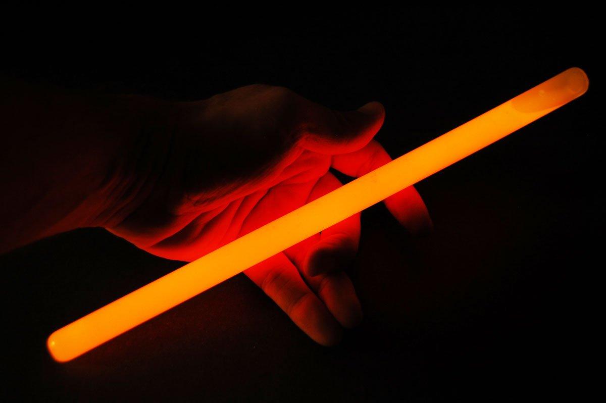 Set of 6 12inch 15mm Grande ORANGE 12 Hour Safety Glow Sticks