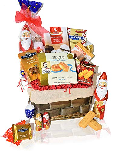 Christmas Gift Baskets – Santa, Chocolate, Cookies, Gourmet,Snacks, Food, Holiday Care Package for Family, Friends, College, Office, Men, Women, Students ,Her, Mom Him
