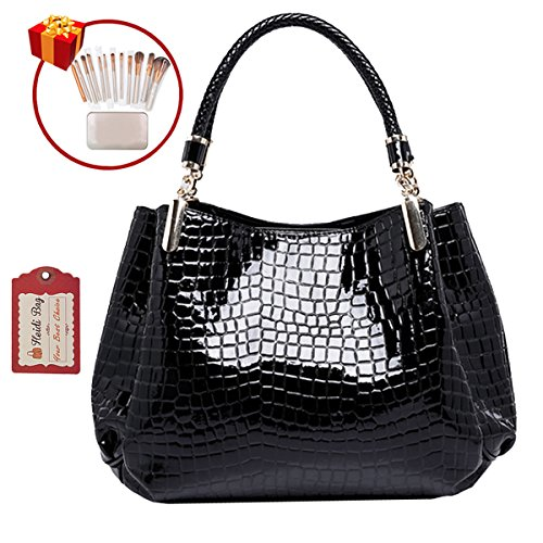 Heidi Bag Women Embossing Alligator Print Tote Handbag Faux Patent Leather Shoulder Bag with Makeup Brush Case Black - Leather And Patent Leather Tote Bag